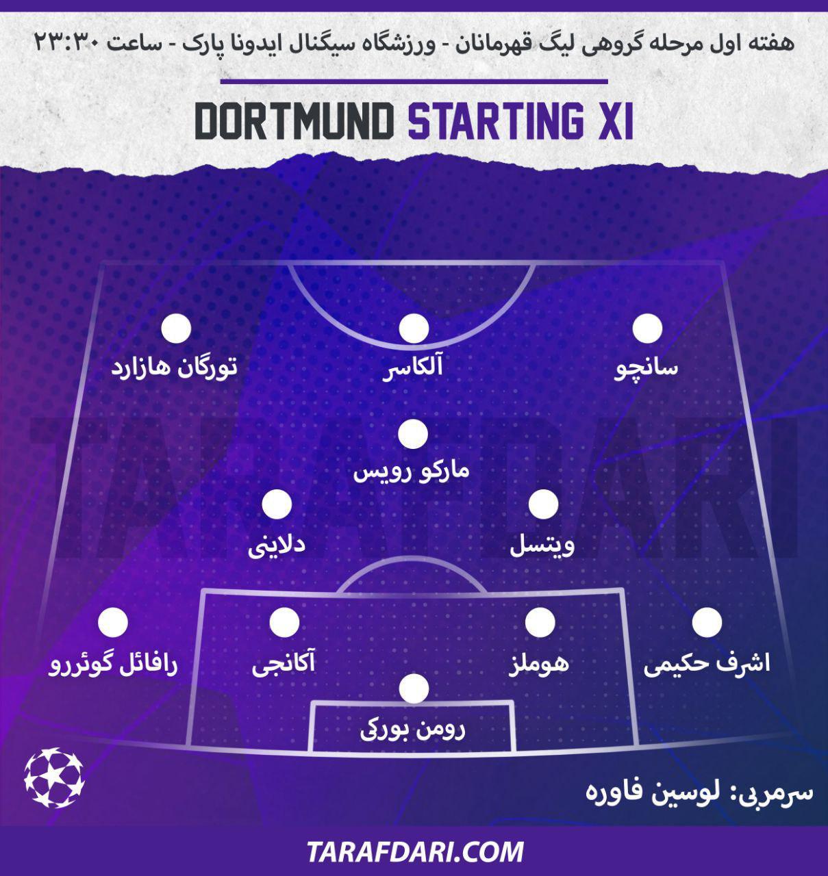 ترکیب دورتموند-لیگ قهرمانان اروپا